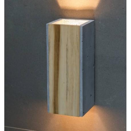 Betonowo-drewniany kinkiet o nowoczesnej formie