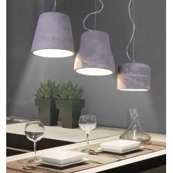 Cementowe lampy wiszące w jednej aranżacji