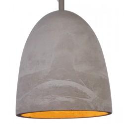 Nowoczesne wnętrze z lampą wiszącą z cementy naturalnego.