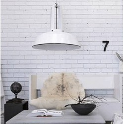 Biała lampa industrialna Workshop L - HK Living